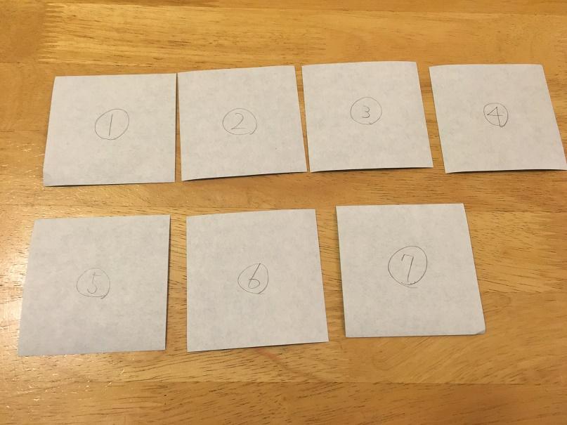 折り紙に番号を記入