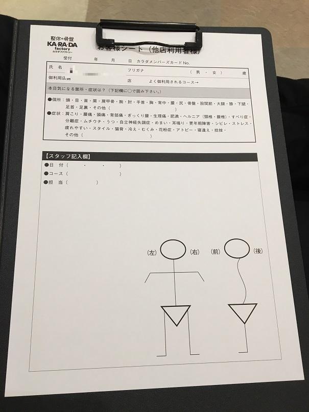 カラダファクトリーの問診表