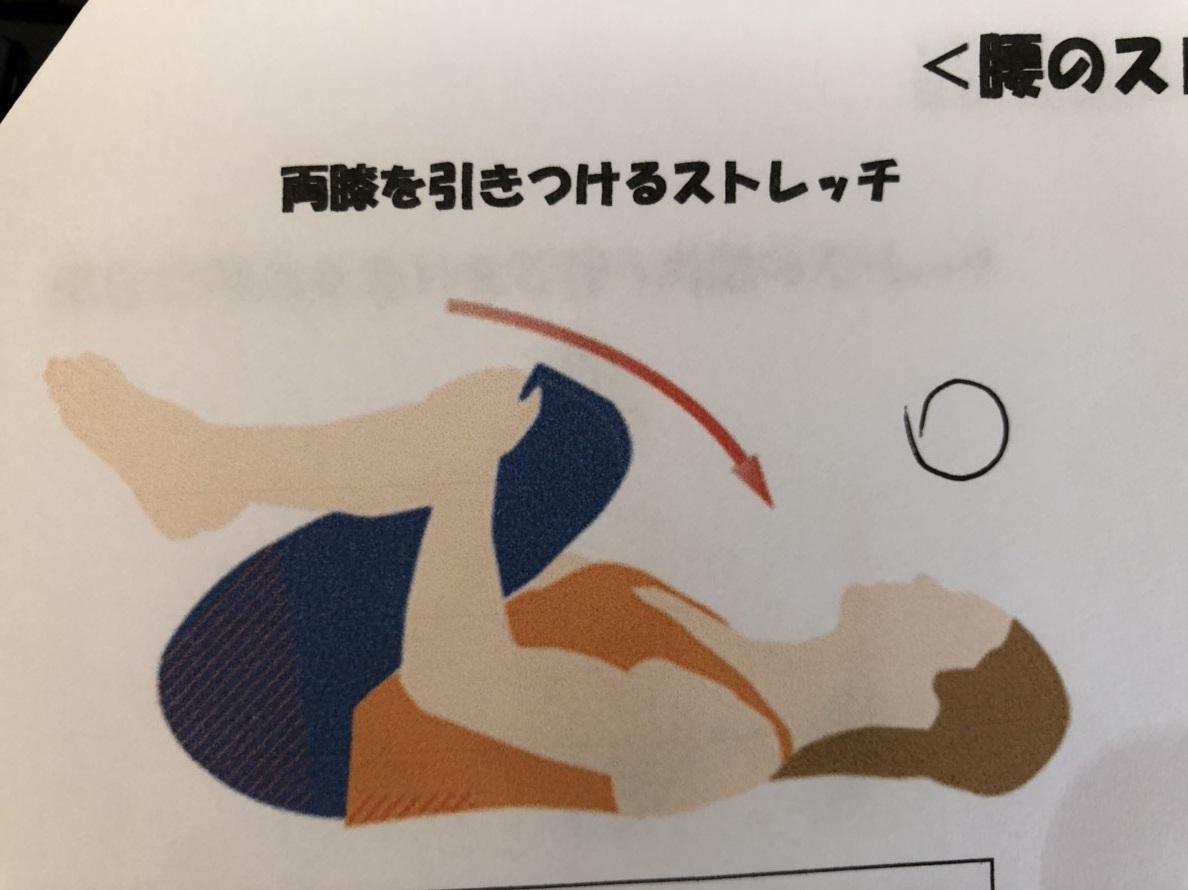 両膝を引きつけるストレッチ