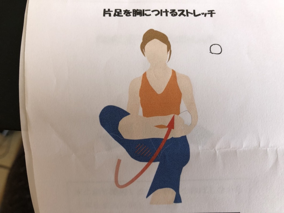 片足を胸につけるストレッチ