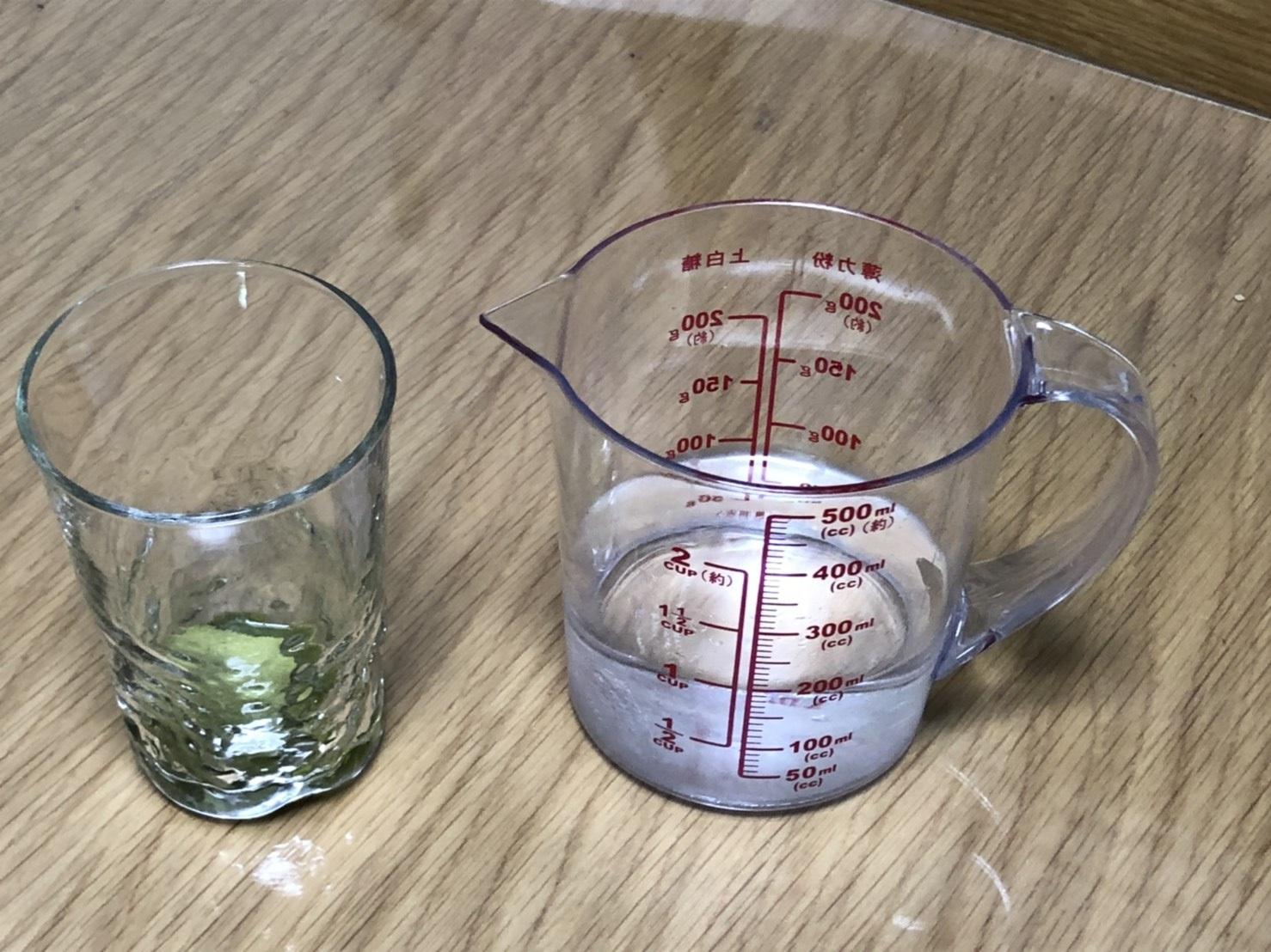 俺の青汁の粉が入ったグラスと溶かすための水