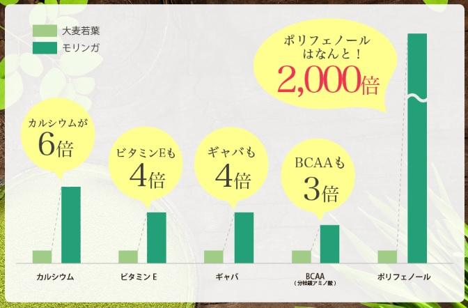 モリンガと大麦若葉に含まれる栄養素の含有量の比較